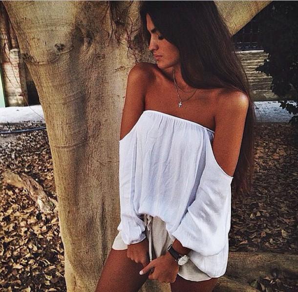 blouse strapless shirt strapless white top summer shirt