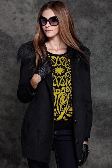 Fur Collar Fancy Pure Color Coat [FEBK0557]- US$ 60.99 - PersunMall.com