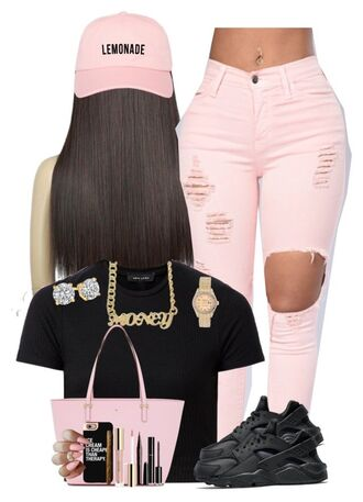 pants pink jeans ripped jeans polyvore black crop top nike nike shoes nike air huarache kate spade tote bag handbag pink bag money gold chain rolex gold watch jewelry etsy pink cap snapback iphone cover iphone case quote on it phone case mascara eyeliner marc jacobs long hair pink nails pink jeans earrings hat baseball cap beyonce cap