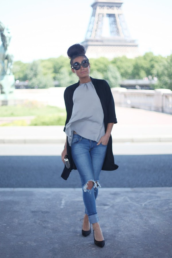 frassy tank top jacket jeans shoes bag sunglasses
