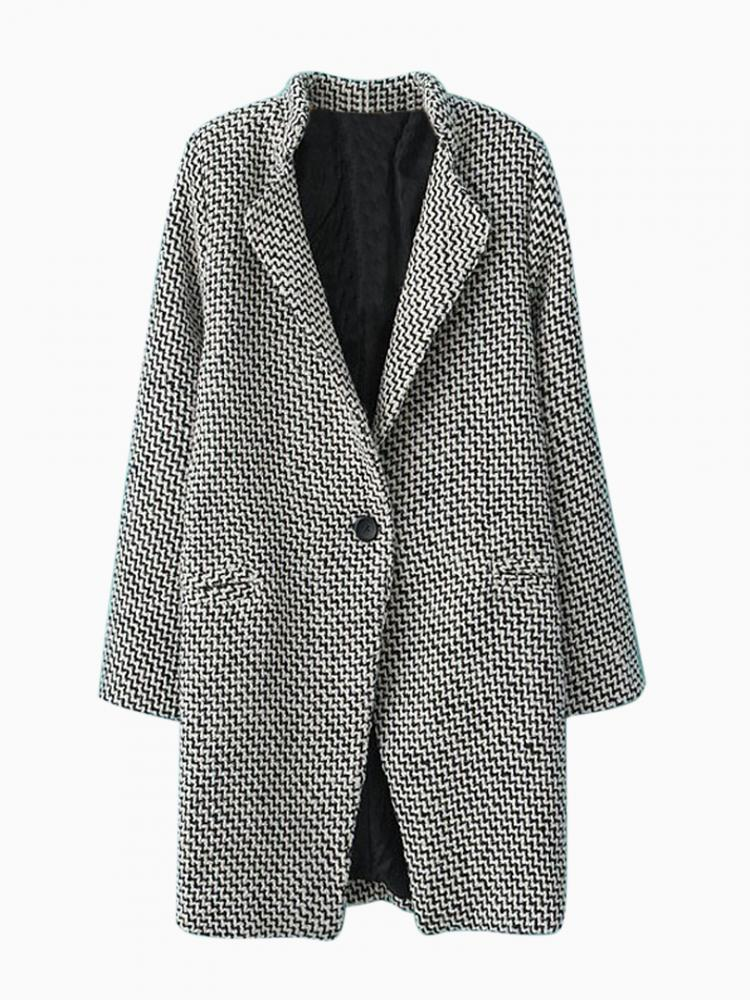 Longline Stripe Duffle Lapel Coat | Choies