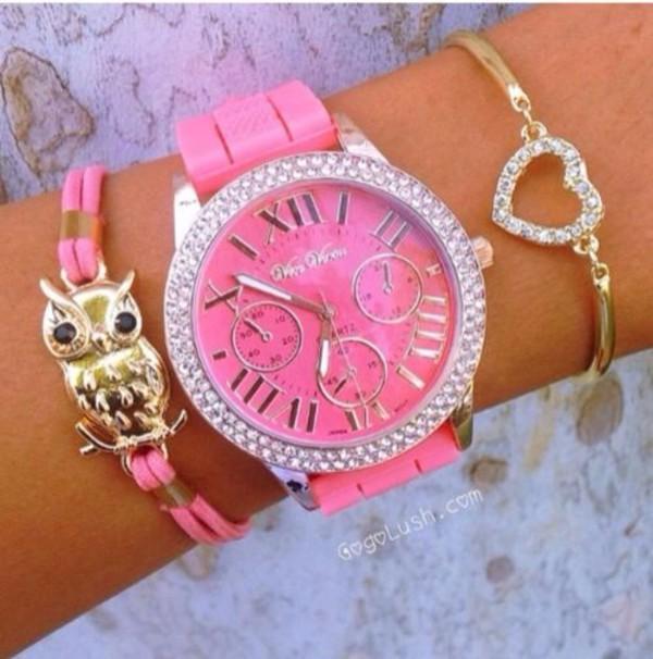 jewels bracelets heart shaped gold jewelry pink watch