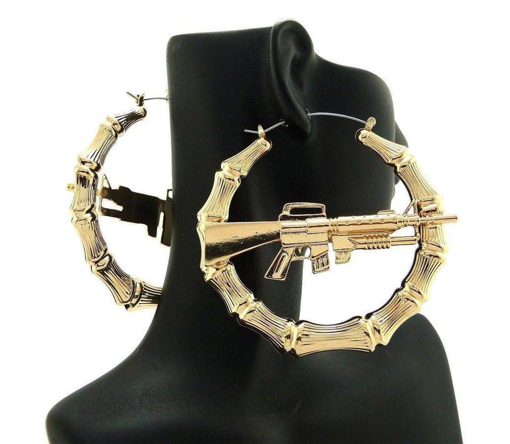 NEW WOMENS CELEBRITY MACHINE GUN HOLLOW BAMBOO PINCATCH HOOP EARRINGS JE011GS | eBay