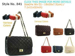 Quilt Shoulder Purse Emboss Leather Cross Body Gold Chain Strap Handbag BAG 841 | eBay