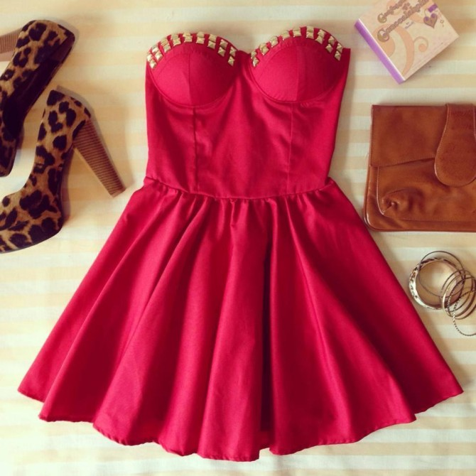 RED UNIQUE FLIRTY BUSTIER DRESS WiITH STUDS