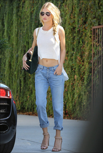 blouse rosie huntington-whiteley boyfriend jeans white shirt heels green bag jeans light jeans tan heels sunglasses shoes