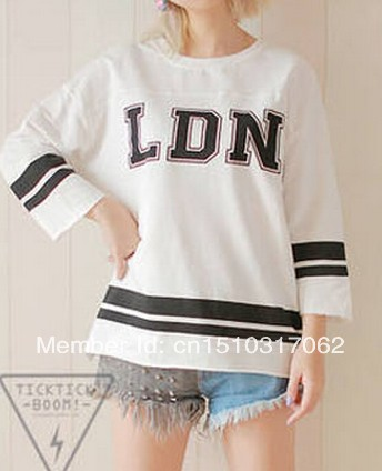 Harajuku style bat sleeve BF LDN letters printed long sleeved T shirt baseball uniform-in T-Shirts from Apparel & Accessories on Aliexpress.com