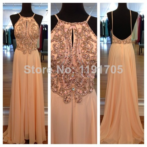 Aliexpress.com : Buy Free shipping Elegant  Halter Beading Yellow Prom dress 2014 A line Floor Length Evening Gowns 2014 New Fashion from Reliable dress square suppliers on Bridalhot