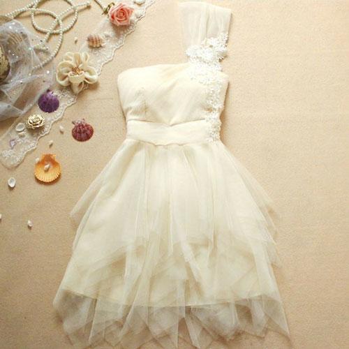 Single Shoulder Cocktail Dress Mesh Tutu Skirt For Wedding Party [ghyxh36104] on Luulla