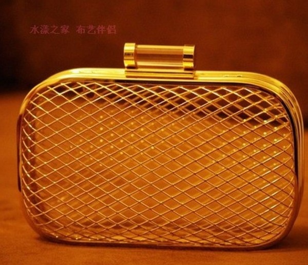 bag aliexpress bird cage clutch gold
