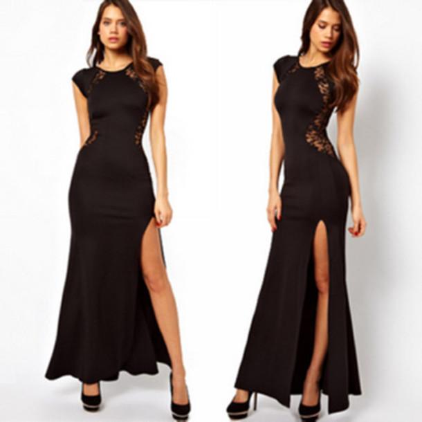 dress sexy dress black dress lace slit dress round neck dress elgant dress
