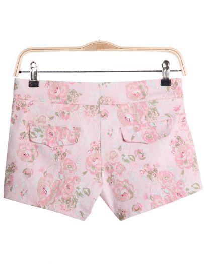 Pink Floral Split Pockets Shorts