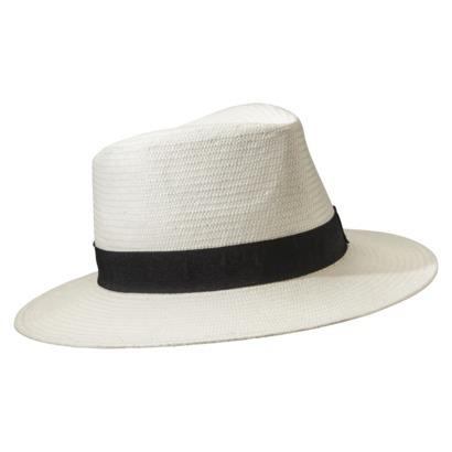 Men's White Panama Hat With Black Band : Target