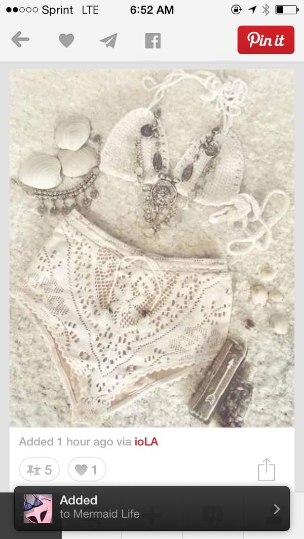 swimwear white bikini cream lace crochet high waisted bikini