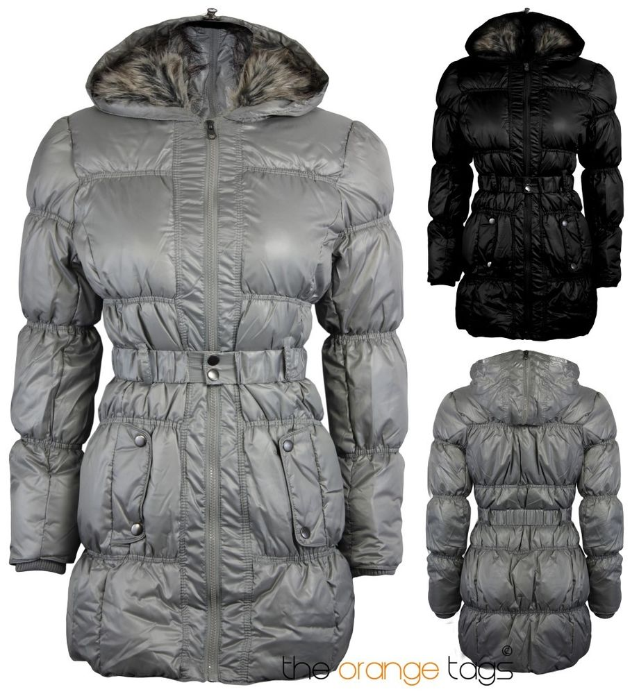 NEW WOMENS FUR HOODED PUFFER QUILTED BELTED PARKA JACKET LADIES WINTER COAT | eBay