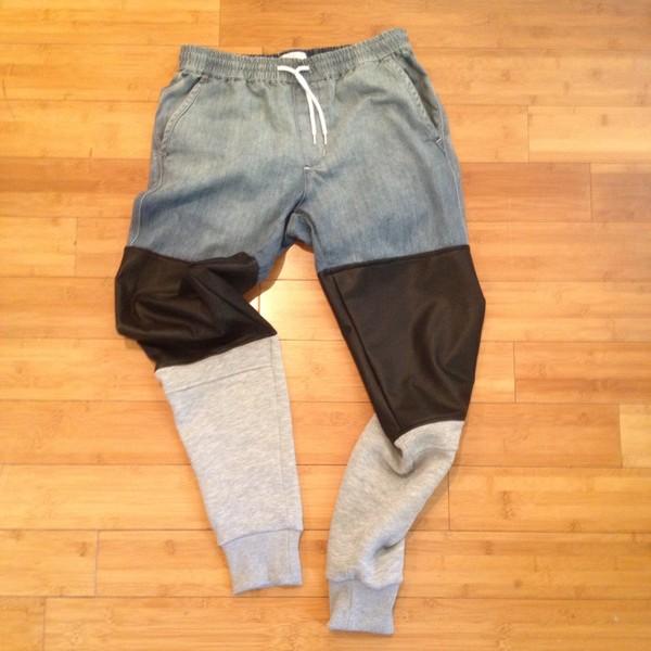 pants leather cuffed jeans elastic waist