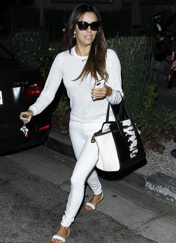 shoes eva longoria pants shirt jeans bag