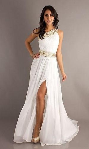 Chiffon White Dress A-Line Asymmetric Dress MV238188