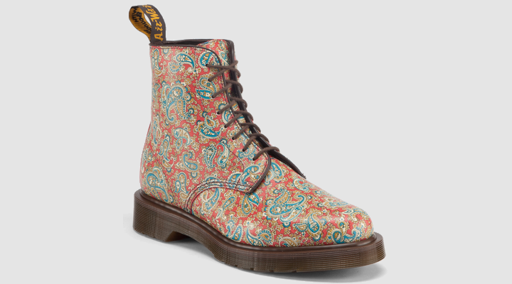 Dr Martens JEFFERY CHERRY RED BLUE PAISLEY - Doc Martens Boots and Shoes