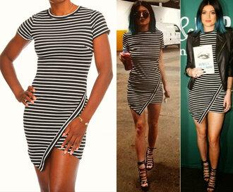 kylie jenner dress stripes asymmetrical trendy teenagers shop kylie jenner celebrity inspired black and white asymmetrical hem kardashians dress mini wrap dress