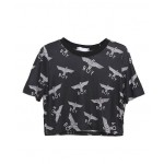Black Cropped T-shirt Top with Eagle BOY Print
