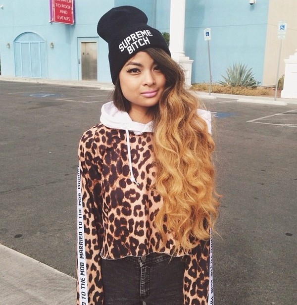 sweater leopard print sweatshirt hat jewels
