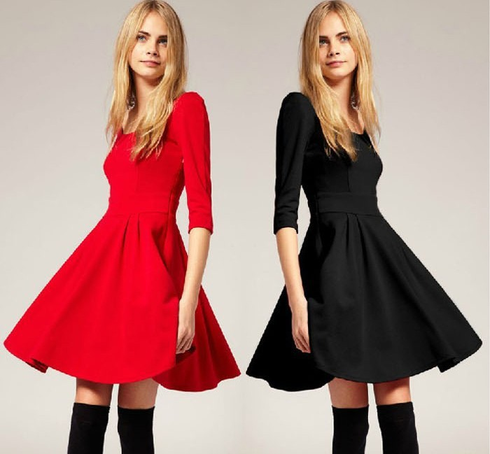 Free shipping FashionNew Women's O Neck Three Quarter Sleeve Back Cut Out Cotton knitted Dress A Line Autumn Dress-in Dresses from Apparel & Accessories on Aliexpress.com