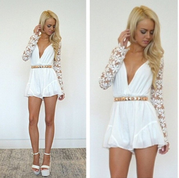 Free shipping 2014 new fashion hot style deep v neck long sleeves lace short jumpsuits white lace playsuits-in Jumpsuits & Rompers from Apparel & Accessories on Aliexpress.com