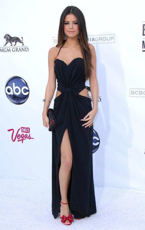 selena gomez black cut out celebrity dress 2011 billboard