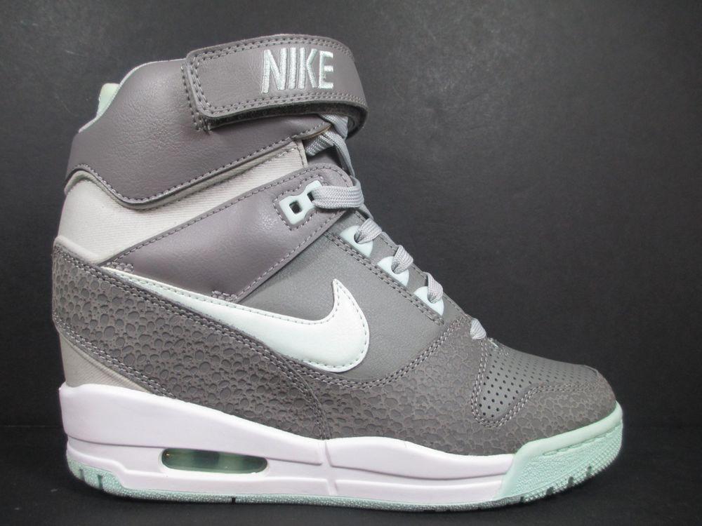 Nike Air Revolution Sky Hi Womens 7 Shoes Grey Tropical Twist SB Hidden Wedge | eBay