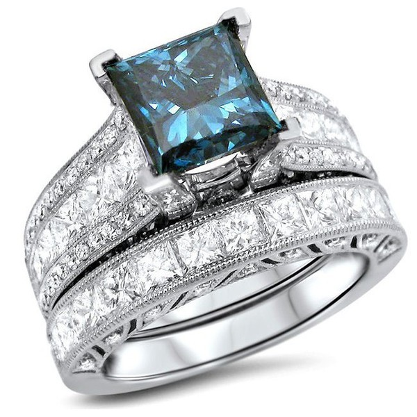 jewels princess blue diamond ring set bridal with - Blue Diamond Wedding Ring