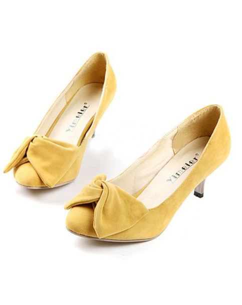 Shoes: clothes vintage high heels yellow mixmoss.com bows