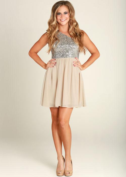 Off-white Sequin Dress - One Shoulder Silver Sequin Cream   UsTrendy