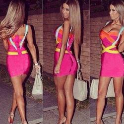2014 gestrickt spaghetti frauen bodycon bandage dress celebrity dress großhandel neon