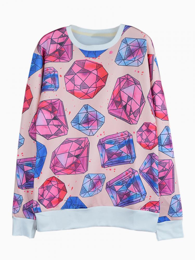 Multi 3D Unisex Sweatshirt With Diamond Print | Choies