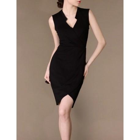 Black Elegant Noble Summer OL Slim V-neck Women Fashion Dress lml7037 - ott-123 - Global Online Shopping for Dresses