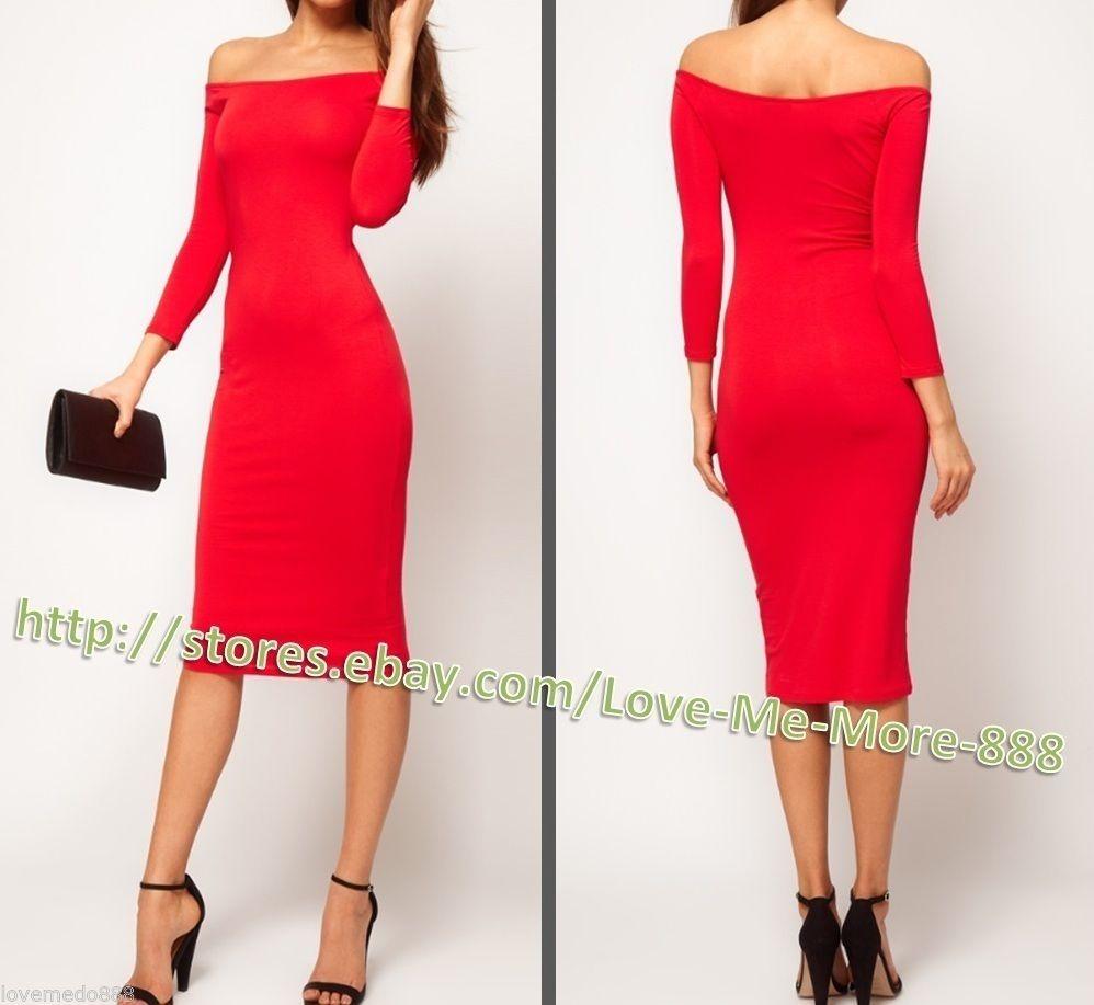XS XXL Womens Off Shoulder Long Sleeve Casual Club Wear MIDI Dress Bodycon Red   eBay