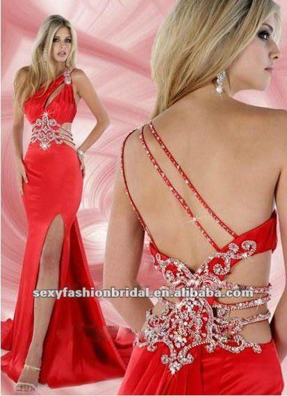 new style 2012 one shoulder keyhole on front sexy slit side prom dresses-in Prom Dresses from Apparel & Accessories on Aliexpress.com