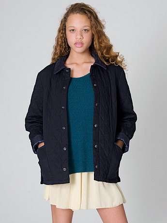 Unisex Quilted Twill Jacket   American Apparel