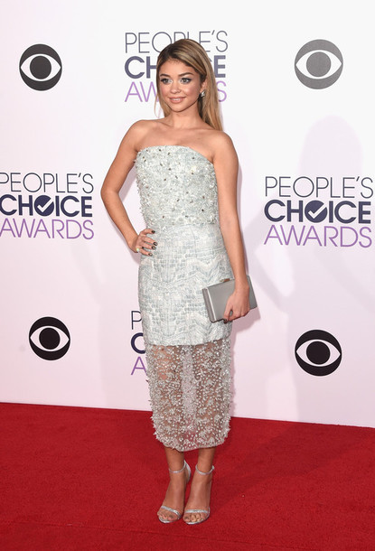 sparkly dress sarah hyland strapless silver sandals