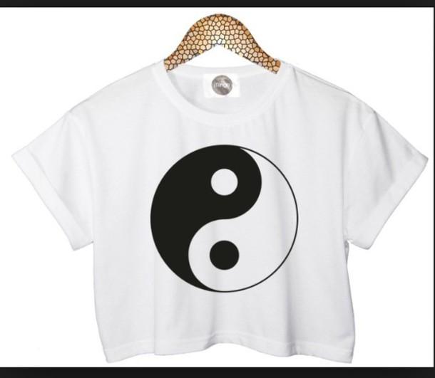yin yang crop tops shirt t-shirt white crop tops yin yang shirt