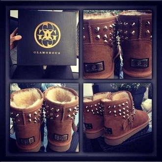 shoes rivet boots ugg boots brown boots brown gold glamour fur fur inside rivet shoes boots rivet glamorous shoes