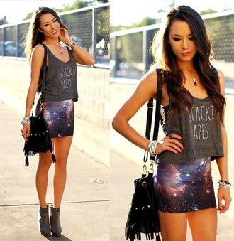 t-shirt clothes skirt jewels bag shirt cosmic purple mini skirt blouse galaxy skirt mini skirt galaxy print short skirt