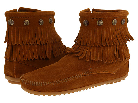 Minnetonka Double Fringe Side Zip Boot Brown Suede - Zappos.com Free Shipping BOTH Ways