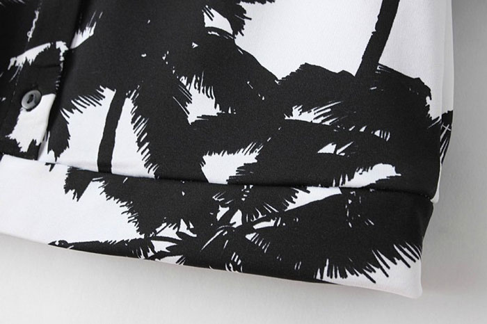 Fantastic Palm Tree Print Croped Shirt [DLN0490] - PersunMall.com