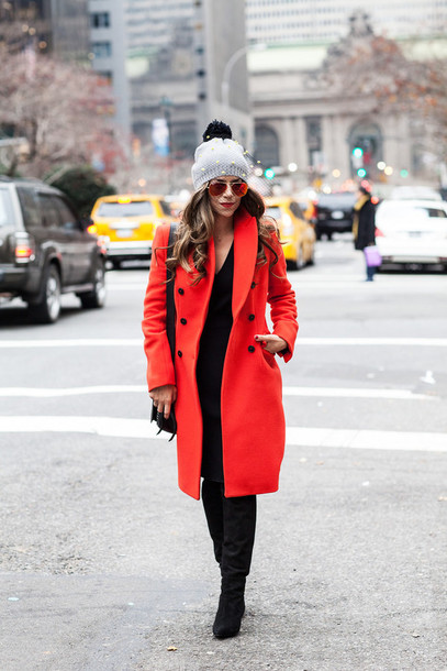 the corporate catwalk blogger dress coat sunglasses red coat pom pom beanie pearl hat scarf bag shoes grey beanie