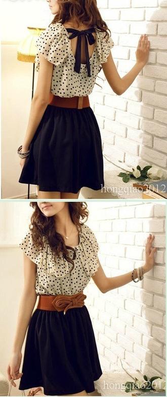 dress polka dots ruffle bow rope white navy brown tan