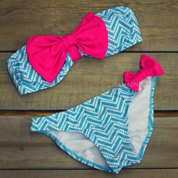 swimwear pink bow blue