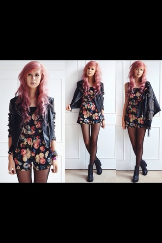 dress cute flowers floral romper jacket rock punk bright orange girly girl feathers bracelets necklace chick