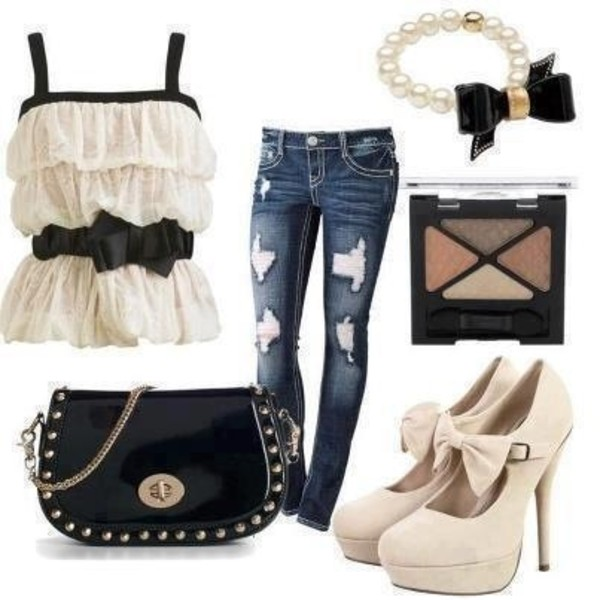blouse blouse shirt pants make-up bag purse jeans shoes bracelets jewelry t-shirt white top shirt for all things lovely bow top black and white tank top ripped jeans black bag nude heels outfit